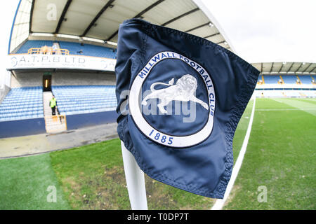 17th March 2019, The Den, Millwall, England; Emirates FA Cup, Sixth Round Millwall vs Brighton & Hove Albion ;  The Den pitch side    Credit: Phil Westlake/News Images   English Football League images are subject to DataCo Licence - Stock Photo