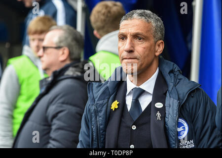 17th March 2019, The Den, Millwall, England; Emirates FA Cup, Sixth Round Millwall vs Brighton & Hove Albion ;   Chris Hughton Manager of Brighton  Credit: Phil Westlake/News Images   English Football League images are subject to DataCo Licence - Stock Photo