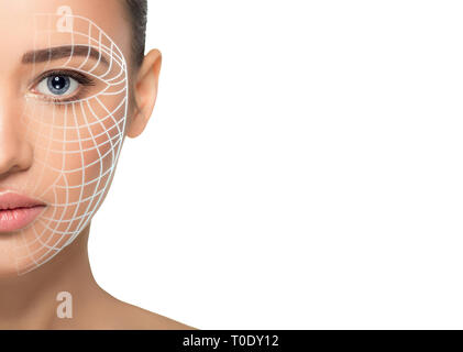 beautiful woman face with lifting arrows on skin . Concept of facial lifting, mesotherapy and anti aging cosmetology procedure - Stock Photo