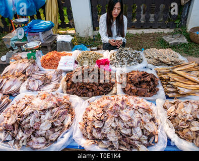 Woman stall holder looking at mobile phone with dried fish displayed for sale, morning street food market, Luang Prabang, Laos, SE Asia - Stock Photo