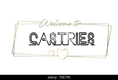 Castries Welcome to text Neon lettering typography. Word for logotype, badge, icon, card, postcard, logo, banner with Wired Golden Frames and Hearts D - Stock Photo