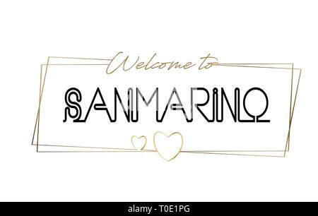 SanMarino Welcome to text Neon lettering typography. Word for logotype, badge, icon, card, postcard, logo, banner with Wired Golden Frames and Hearts  - Stock Photo