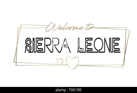 SierraLeone Welcome to text Neon lettering typography. Word for logotype, badge, icon, card, postcard, logo, banner with Wired Golden Frames and Heart - Stock Photo