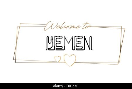 Yemen Welcome to text Neon lettering typography. Word for logotype, badge, icon, card, postcard, logo, banner with Wired Golden Frames and Hearts Desi - Stock Photo