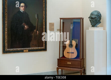 Madrid Royal Academy of Fine Arts Real Academia de Bellas Artes de San Fernando. Room dedicated to Andrés Segovia virtuoso Spanish classical guitarist - Stock Photo