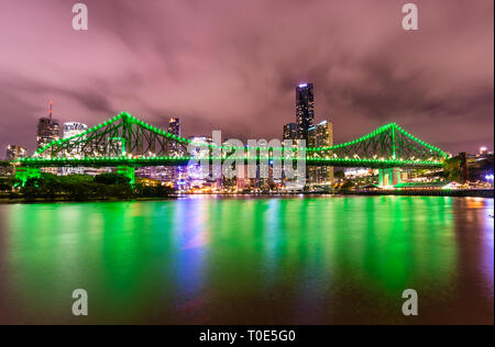Brisbane City on a cloudy night. Located in Queensland Australia, the capital city of Queensland. - Stock Photo