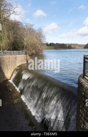 Spillway from Waterloo Lake in Roundhay Park, Leeds, West Yorkshire, England, UK - Stock Photo