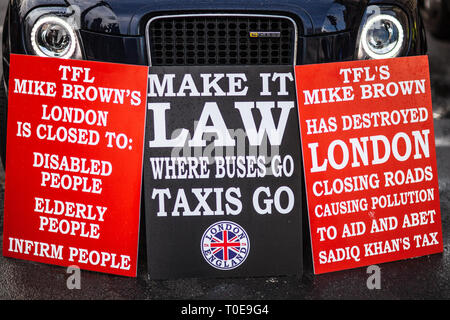 London Taxi Dispute - Taxi Drivers Protest against changes closing certain roads to London Taxis, changes proposed by Transport for London TFL - Stock Photo