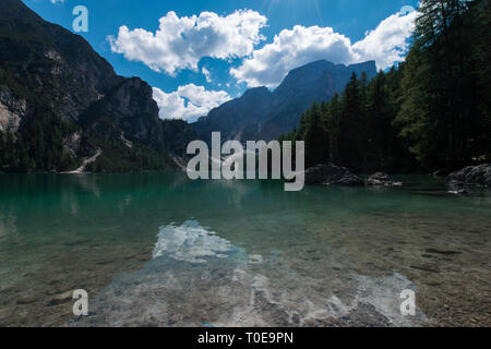 View of the Braies Lake ( Pragser Wildsee, also called Lago di Braies or Lake Prags ) in Dolomites mountains, Sudtirol, Trentino Alto Adige, Italy - Stock Photo