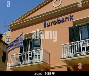 Eurobank, Corfu Town, Greece - Stock Photo