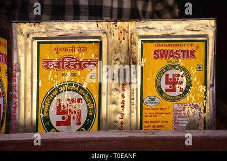 Swastik Groundnut Oil Cans, Bundi, Rajasthan, India - Stock Photo