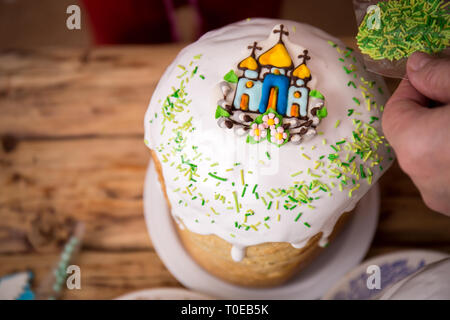 cakes in the process of decorating - Stock Photo
