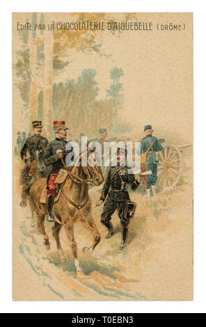 French historical advertising chromolithographic postcard: General on horseback listening to the report of the messenger officer near the artillery