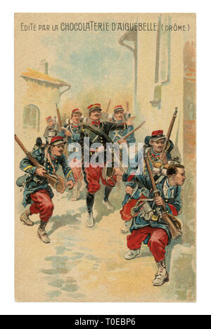 French historical advertising chromolithographic postcard: officer leads a soldier infantry with rifles through the streets of the enemy city, street