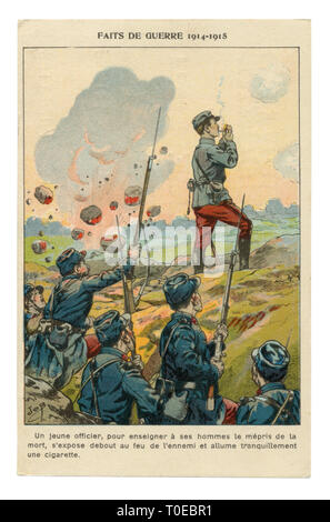 French historical advertising chromolithographic postcard: An officer despite the shelling by the enemy lights a cigarette, standing full-length