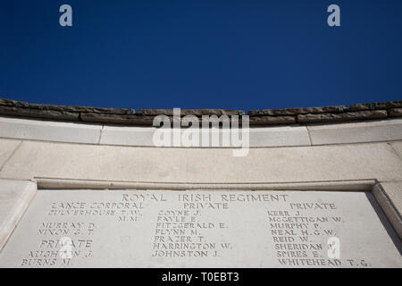 The names of  soldiers of the allied forces who died in the Somme, who have no known grave, inscribed in limestone at Tyne Cot Cemetery in Belgium. - Stock Photo