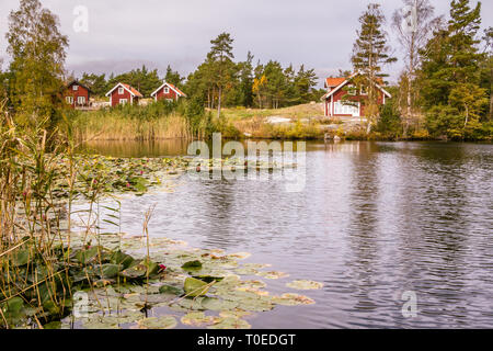 Traditional red wooden holiday homes in Sweden Europe - Stock Photo
