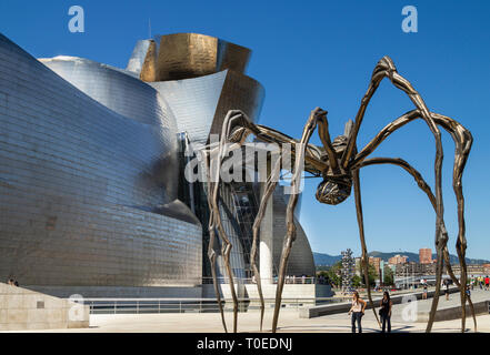 Spider sculpture 'Maman' by Louise Bourgeois outside Guggenheim museum in Bilbao, Spain.