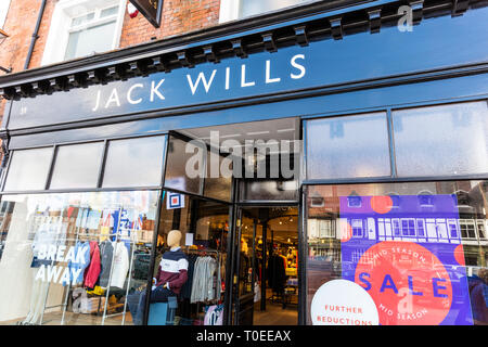 Jack Wills clothing store, Jack Wills shop, Jack Wills store, Jack Wills store front, Jack Wills fashion, Jack Wills, shop, store, UK, sign, logo, - Stock Photo