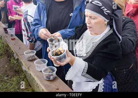 Greek woman dressed in a folk dance traditional uniform outfit holds two containers full of hot sweet roasted chestnuts at the annual Leivadi festival. - Stock Photo