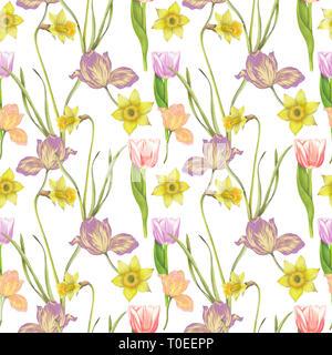 Seamless pattern of hand drawn flowers - Stock Photo