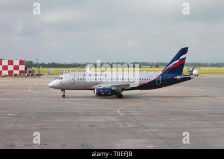 Kazan, Russia - Jul 19, 2018: Plane 'K. Kuliev' on taxiing at airport - Stock Photo