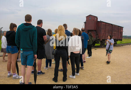 Oswiecim, Poland - July 11th 2018.  A tour group crowds around their guide as she explains about the Train Wagon on the unloading platform at the Birk - Stock Photo