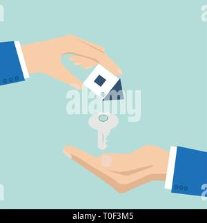 Vector of a house key with small house key ring given from one hand to another on a light blue background - Stock Photo