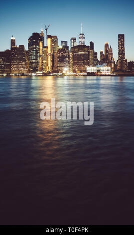 Manhattan at blue hour, color toned picture, New York City, USA. - Stock Photo