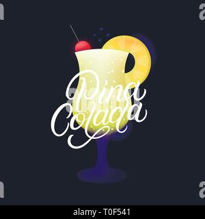 Alcohol cocktail Pina Colada. Modern hand written lettering label. Dark background. Trendy flat style. Vector illustration. - Stock Photo