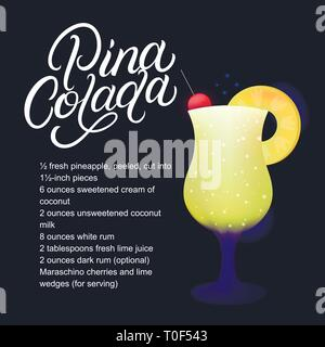 Pina Colada alcohol cocktail recipe. Modern hand written lettering label. Dark background. Trendy flat style. Vector illustration. - Stock Photo
