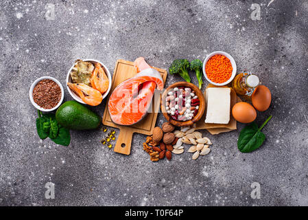 Products sources of Omega-3 acids - Stock Photo