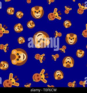 Seamless pattern of the head of a lion and a giraffe. Vector illustration in cartoon style on a colored background. - Stock Photo