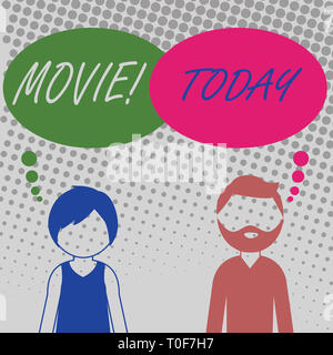 Handwriting text Movie. Conceptual photo Cinema or television film Motion picture Video displayed on screen Bearded Man and Woman Faceless Profile wit - Stock Photo