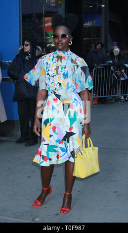 New York, USA. 19th Mar 2019. Lupita Nyong'o at Good Morning America to talk about her new movie US in New York March 19, 2019 Credit: RW/MediaPunch Credit: MediaPunch Inc/Alamy Live News - Stock Photo