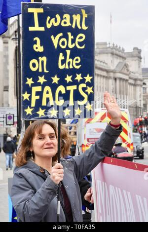 19th Mar 2019. An Anti Brexit protester demonstrates against Brexit. Houses of Parliament,  Westminster, London. UK Credit: michael melia/Alamy Live News - Stock Photo