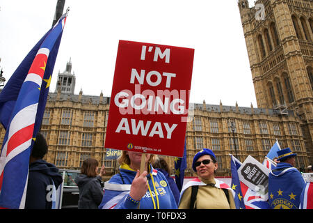 London, UK, UK. 19th Mar, 2019. An anti-Brexit demonstrator seen holding a placard that says I'm not going away during the protest outside the Houses of Parliament.The UK will leave the EU on 29 March 2019. Credit: Dinendra Haria/SOPA Images/ZUMA Wire/Alamy Live News - Stock Photo