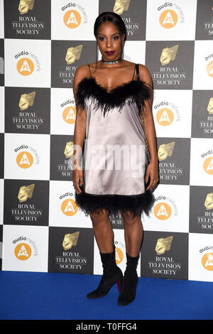 LONDON, UK. March 19, 2019: London Hughes arriving for the Royal Television Society Awards 2019 at the Grosvenor House Hotel, London. Picture: Steve Vas/Featureflash Credit: Paul Smith/Alamy Live News - Stock Photo