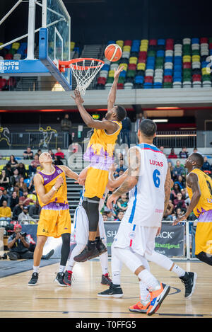 London, UK, 19 March 2019  The London Lions gained revenge over their local rivals the London City Royals by a score of 102-89. The Royals had defeated the Lions in their previous encounter and thereby winning the BBL Trophy.   Credit: Ilyas Ayub/ Alamy Live News - Stock Photo