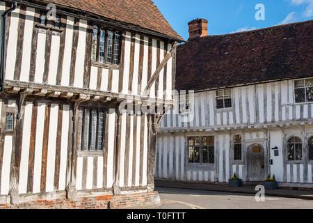 Corner of Water Street and Lady Street, Lavenham, Suffolk, England, United Kingdom, Europe. - Stock Photo