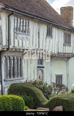 Tudor Half-timbered houses in the village of Lavenham, Suffolk, England, United Kingdom, Europe. - Stock Photo