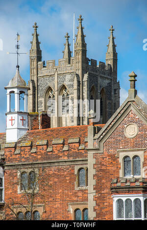 Hospital of the Holy and Blessed Trinity with Holy Trinity Church to the rear, in the village of Long Melford, Suffolk, East Anglia, UK. - Stock Photo