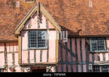 Nether Hall, a half-timbered building in the village of Cavendish, Suffolk, England UK - Stock Photo