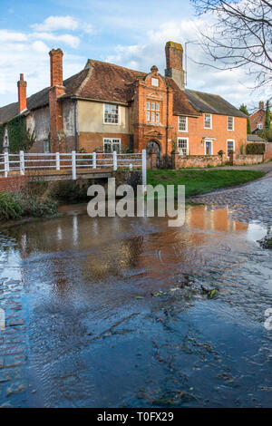 River Box Ford in front of Fifteenth century Ye Olde River House from 1490, in Kersey village, Suffolk, East Anglia, England, UK. - Stock Photo