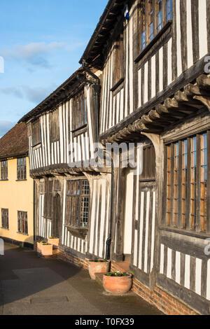 Half-timbered medieval cottages, Lavenham, Suffolk, England, United Kingdom - Stock Photo