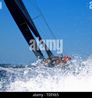 Superyacht tacking into the wind J Class Superyacht Cup race Palma Mallorca - Stock Photo