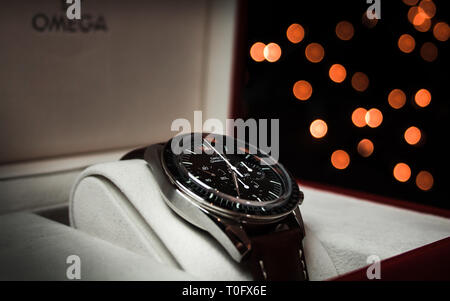 Omega Speedmaster Limited Edition in Box - Stock Photo