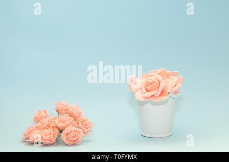 Pink rose petals in a white toy bucket next to flowers on a light blue background, flowers for the holiday of March 8 or February 14, women's day - Stock Photo