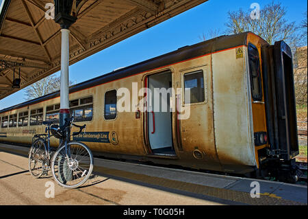 Passenger trains in the station at Norwich, Norfolk - Stock Photo