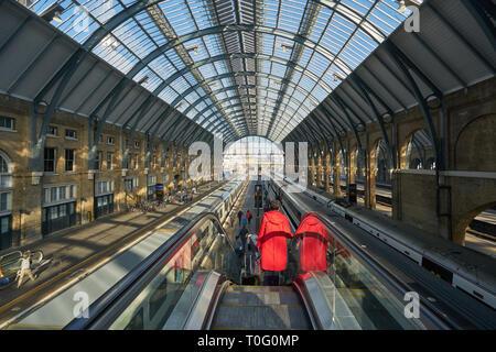 kings cross station escalators - Stock Photo